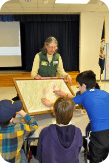 Sandy Greene demonstrating watershed mapping.